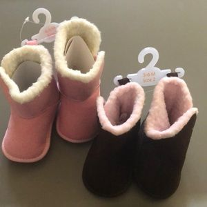 Other - Baby Pink and Brown Comfy Boots